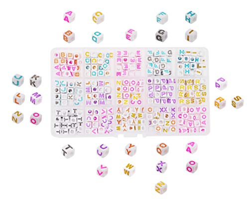 Mandala Crafts Alphabet Cube Letter Beads for Jewelry Making, Kandi Bracelets, Necklaces; Plastic Pony Beads Box Kit for String Art (6MM, Color on White)