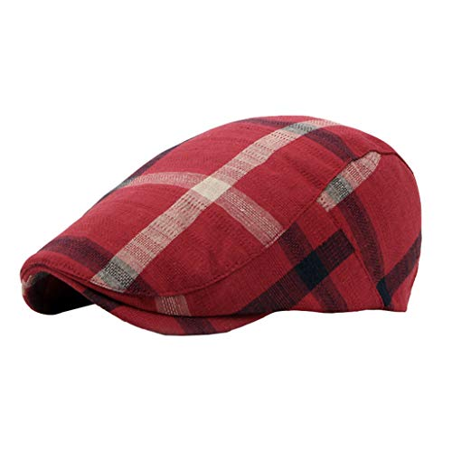 - Men Classic Retro Beret Hat Cotton Plaid Newsboy Artist Cabbie Flat Cap (Red)