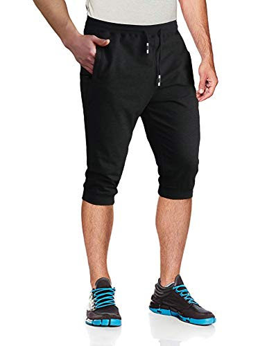 MAGCOMSEN Capri Joggers Men 3/4 Sweatpants Below Knee Shorts Running Shorts Walking Shorts Gym Shorts Zipper Pockets Jogger Pants for Men Black ()