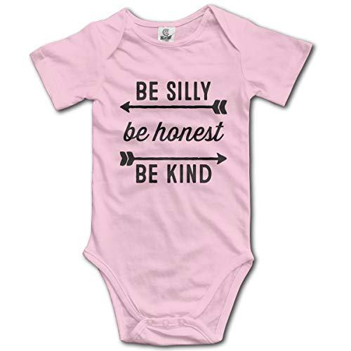 Ghhpws Be Silly Be Honest Be Kind Baby's Onesie Unisex Short Sleeve Comfortable Bodysuit Outfits Pink -