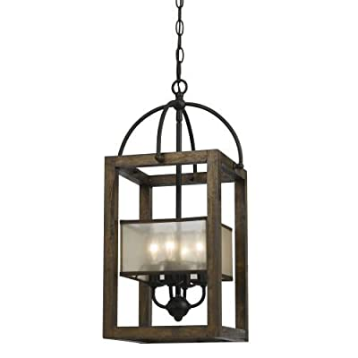 Cal Lighting FX-3536/4 4 Light Mission Wood / Metal Chandelier With Organza Shad,