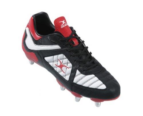 GILBERT Blitz SG Men's Rugby Boot, Black/White/Red, US14.5