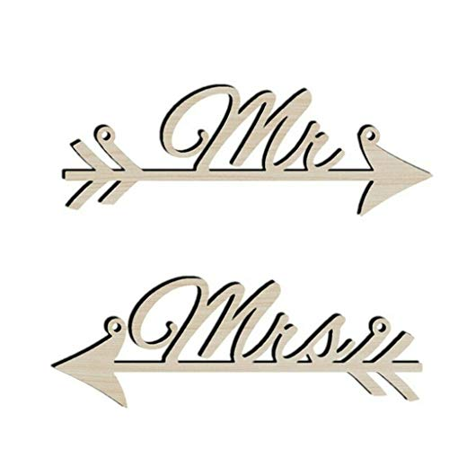 UMFun Wooden Rustic Bridal Table Sign.Mr&Mrs Personalised Wedding Party Chair Decor Yellow -