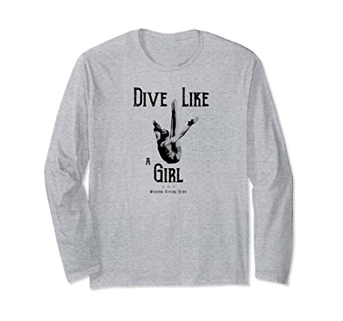 Dive Gear Clothing - Unisex Women's Dive Like a Girl Diving Long Sleeve Shirt Medium Heather Grey