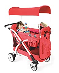 Multi-Function push handle folding stroller wagon with canopy, can transform from Standard Stroller to Moving Bassinet to Pram Stroller to Twin Stroller to Outdoor Wagon to Pet Stroller to Playground Play Cart to Shopping Cart, it makes a com...