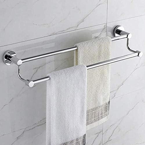 DoubleBlack Bathroom SUS304 Stainless Steel Rustproof Towel Rack Shelf Wall Mounted 2 Towel Rails Double Towel Bars Towel Storage 62 cm in Length