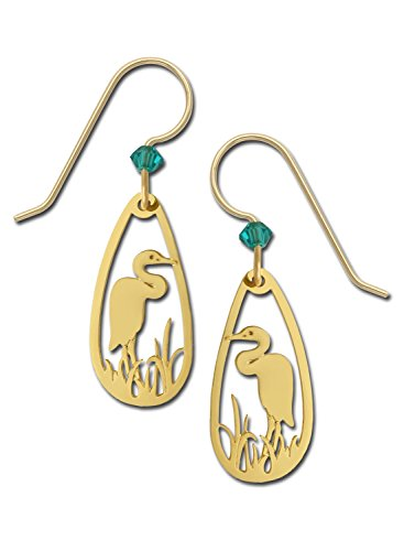 Filigree Accent Plate - Sienna Sky Gold Plated Heron Bird Marsh Filigree Teardrop Earrings with Gift Box Made in USA