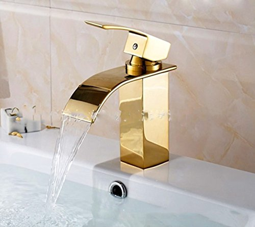 LDONGSH Gold Retro Drawing Waterfall Single Hole Basin Sink Bathroom European Style Faucet Tap by LDONGSH