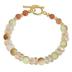 Handmade Citrine Gaspeite and Mixed Gemstones Bracelet