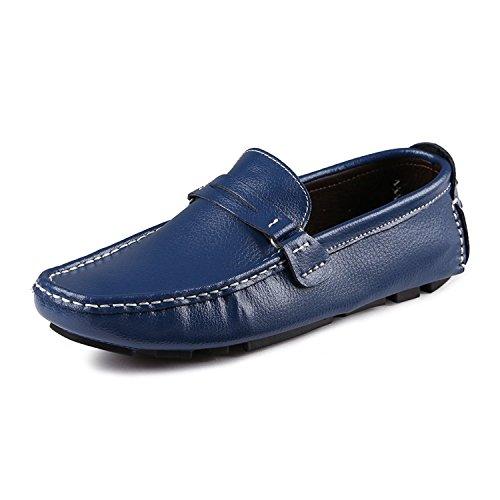 37 de Loafers Comodidad Plano Zapatos Azul EU CCZZ Cuero Mocasines Conducción 45 Casual Hombre Calzado tqCxwPHY