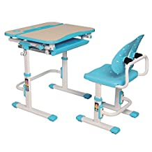 GALILEO - Multi-functional Ergonomic Height Adjustable Children's Desk & Chair Set with upgraded Chair and Tilt feature! (Book Holder and LED Lamp are optional accessories) - Blue