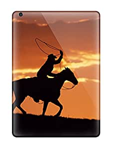 NYciwVy9632jLeGt Tpu Case Skin Protector For Ipad Air Western Cowboy At Sunset With Nice Appearance