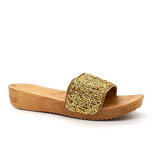 London Footwear - talón abierto mujer Dorado - dorado