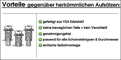 Silikon Nischenmarkt Schornsteinhaube//Schornsteinhut//Schornsteinabdeckung Kaminkraft V2A DN 300 mit Grundplatte