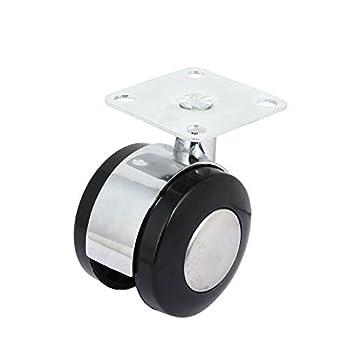 eDealMax 2 pulgadas de diámetro 71mm Altura Doble Ruedas Flat Top placa giratoria Rueda giratoria