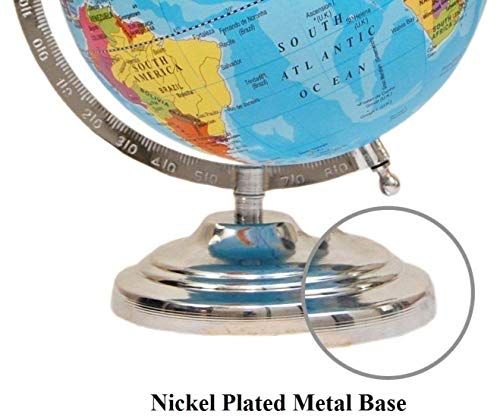 GeoKraft Educational Political Laminated 8 Inches Rotating World Globe with Steel Finish Arc and Base / World Globe / Home Decor / Office Decor / Gift Item (Blue)