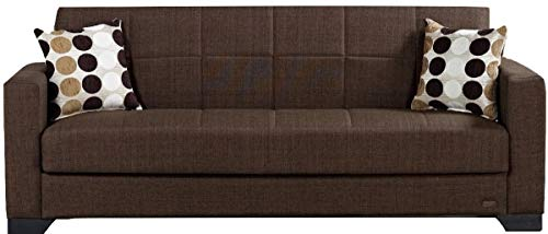 BEYAN SB 2019 Brown Vermont Modern Chenille Fabric Upholstered Convertible Sofa Bed with Storage, 84