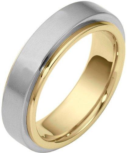 (6mm 18 Karat Two-Tone Gold Designer SPINNING Wedding Band Ring - 575)