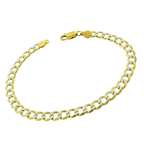 - Elite Anti-Tarnish - 6mm Cuban Curb Link - Patented ITProLux - 925 Sterling Silver - Diamond-Cut Pave - 14K Yellow Gold - Solid Bracelet Chain - Made In Italy - 9