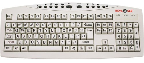 Keys-U-See Large Print English Wired USB Computer Keyboard - Ivory White Beige Keys with Large Black Letters