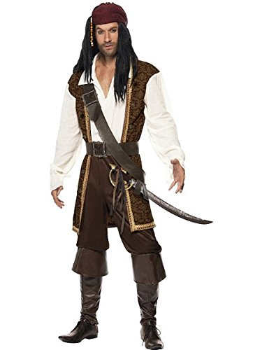 [Smiffy's High Seas Pirate Costume, Brown/White/Black, Large] (Couple Costumes Black And White)