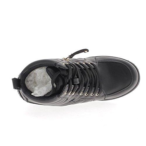 Baskets compensées montantes noires simili cuir à talon de 7cm