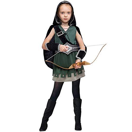 Woodland Elf Halloween Costume (Warrior Night Hooded Huntress Costume for Halloween Tween Girls with Accessories (Large (10-12yr)))