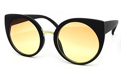 O2 Eyewear 3317 Oversize Soft Matte Finish Funky Fashion Candy Flat Tint Cats Eye Sunglasses (Matte Finish, ORANGE - Glasses Tint Sun That In The