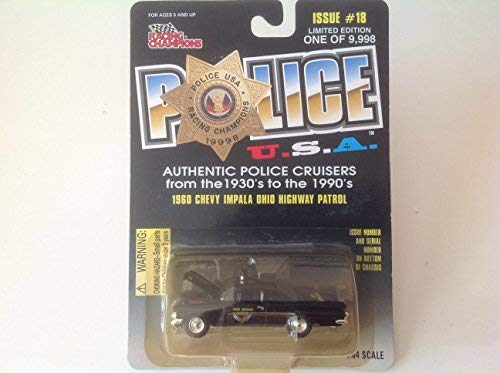 Racing Champions Police USA 1960 Chevy Impala Ohio Highway Patrol Black Issue #18 from Racing Champions