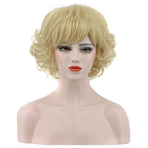 Karlery Women's Short Bob Curly Blonde Wig Halloween Costume Cosplay Wig ()