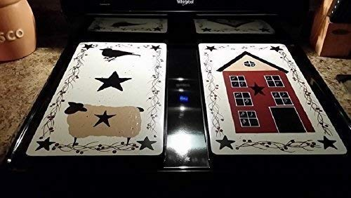 - Primitive Country Decor Hand Painted Sheep, Salt Box House, Crow Stove Burner Covers Set of 2