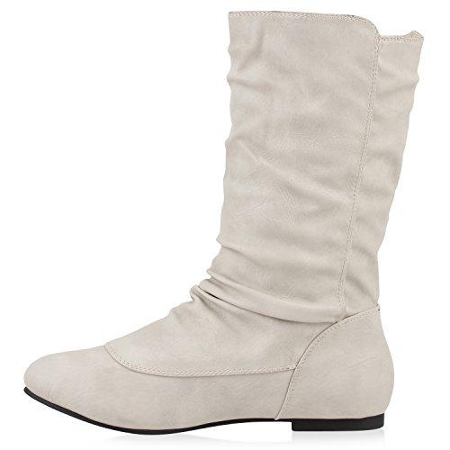 Stiefelparadies Damen Stiefel Flache Boots Schlupfstiefel Flandell Creme Knöpfe