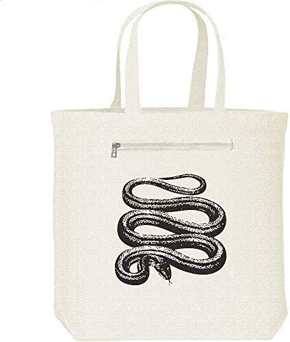 エムワイディエス(MYDS) 蛇(シマヘビ)モノトーン/キャンバス トートバッグ・ファスナー ポケット付