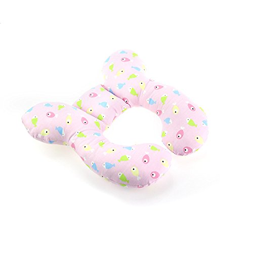 Newborn Baby Travel Pillow-Baby Neck Support Pillow for Toddler Car Seat to Protect Baby's Head(Fish,100% Cotton-Pink)