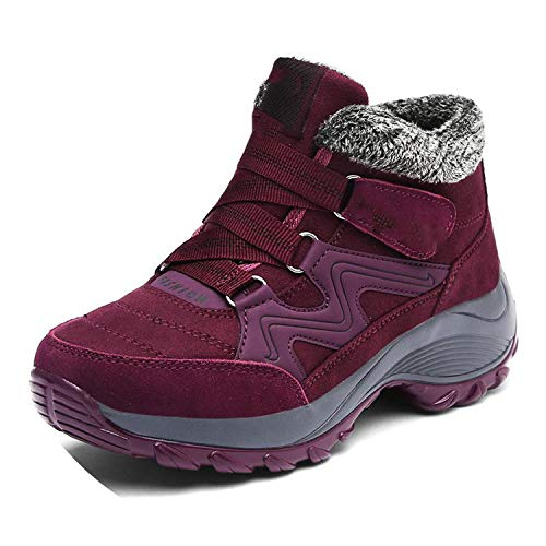 Women Shoes Warm Plush Ankle Boots Casual Shoes Wedge Snow Sexy Boots Waterproof,Thick Soles Dark Red,11 (Hpi Hiking Shoes)