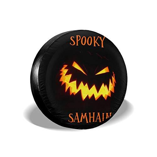 Samhain Pumpkin Skull Spooky Spare Tire Cover Rear Car Decorations Holiday Ornament Wheel Accessories Decor Protector 14 15 16 17 Inch for Jeep Trailers RV SUV Trucks Offroad Parts