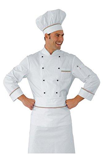 Isacco Giacca cuoco Profilata - Isacco Bianco+Italy a6d1c213672f