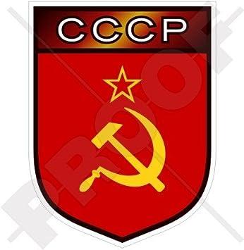 Vinyl Bumper-Helmet Stickers SOVIET UNION Russia USSR CCCP Shield 50mm 2 Decals x4