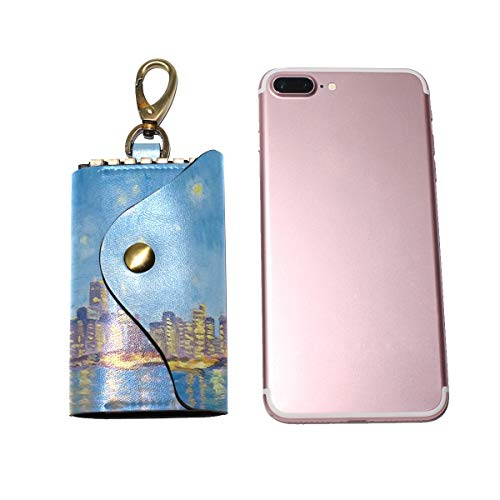 (Large Leather Pocket key organizer case San Francisco Starry Night unisex keychain holder Ring With 6 hoods Snap)