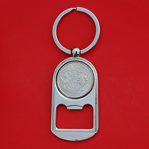 Silver Quarter Key (US 2000 New South Carolina State Quarter BU Uncirculated Coin Silver Tone Key Chain Ring Bottle Opener NEW)