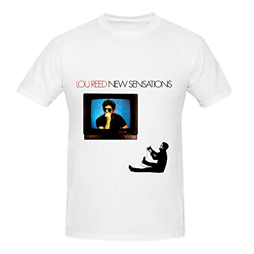 Lou Reed New Sensations Electronica Men Crew Neck Customized Tee White (Womens Disco Sensation Dress)