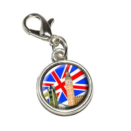 Graphics and More London England UK Big Ben London Bridge Phone Box Antiqued Bracelet Pendant Zipper Pull Charm with Lobster Clasp