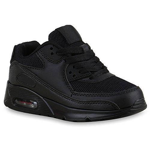 Kinder Sportschuhe Materialmix Bequeme Laufschuhe Schnürschuhe Sneakers Sneaker Profilsohle Flandell Schwarz Bexhill