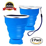 Yiiyaa Silicon Collapsible Travel Cup, Camping Coffee Mug, 8oz Food-Grade BPA Free & FDA Approved Portable Folding Coffee Mug for Hiking Camping Outdoor Sports and Commuting to Work (Couple-Blue)
