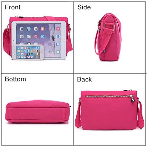 Bags Hobo Pink Purse Pocket Crossbody STUOYE Travel bag for by Bag Multi Bright Nylon Shoulder Women vwdwpZ