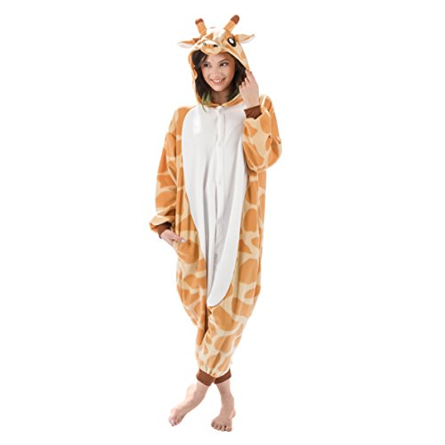 Adult Onesies Kigurumi Cosplay Costume: Giraffe Hood Animal Onesie Furries Pajamas for Men & Women (Medium, Giraffe)