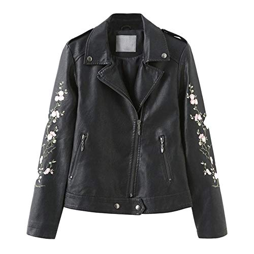 XL_nspiyi Ladies Embroidered Flower Pattern Studded Leather Jacket Motorcycle Suit