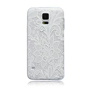 DD 20150511 Lace Flowers Pattern TPU Soft Back Cover Case for Samsung S5 I9600