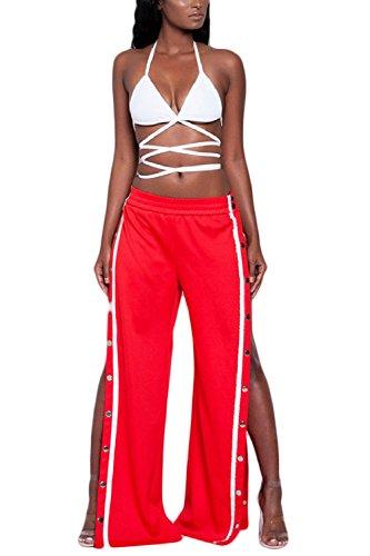 La Mujer Es Elegante High Slit Single - Breasted Long Pantalones Anchos Red