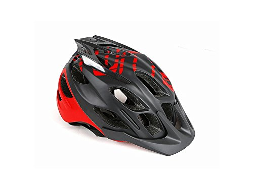 Wesource Adult Adjustable Bike Helmet Porous Mountain Bicycle Helmet One-Piece Bike Helmet(Black+Red) by Wesource